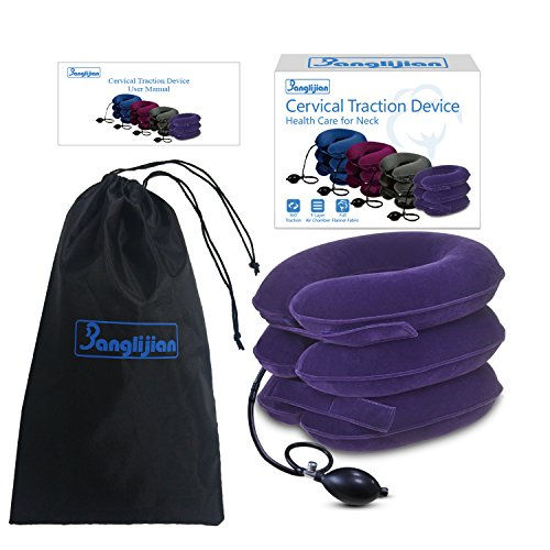 Banglijian Cervical Neck Traction Collar Device Inflatable Pillow Effective and Instant Relief for Chronic Neck and Shoulder Pain with Adjustable Size (Purple) by Banglijian (Image #2)