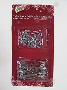 Holiday Essentials Metal Christmas Tree Ornament Hooks - Combo Pack - 50 Large & 50 Small Hooks