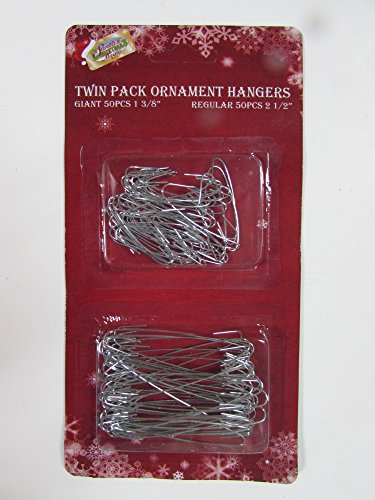 Holiday Essentials Metal Christmas Tree Ornament Hooks - Combo Pack - 50 Large & 50 Small Hooks
