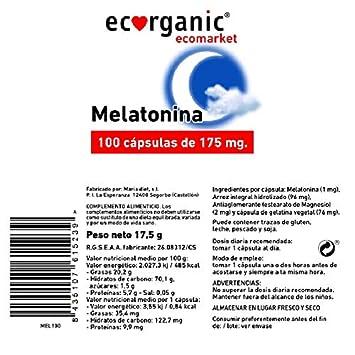 ECORGANIC Capsulas Melatonina 175Mg 100Ud Ecorgani: Amazon.es: Salud y cuidado personal