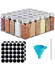DEFWAY Glass Spice Jars with Labels - 4oz Empty Glass Jar Square Glass Seasoning Jars with Aluminum Lids, Shaker Tops, Rewritable Labels, Liquid Chalk and Silicone Collapsible Funnel