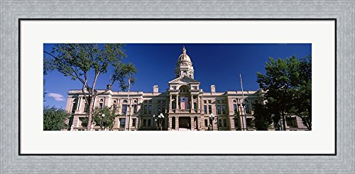 Wyoming State Capitol Building, Wyoming, USA by Panoramic Images Framed Art Print Wall Picture, Flat Silver Frame, 35 x 17 inches