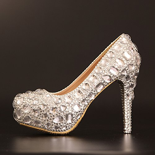 and drill High sandals heel shoes Big Si Round 12CM toe wedding Women's amp; Stiletto Crystal high platform heeled Waterproof Princess bride Heel qZ4UXO