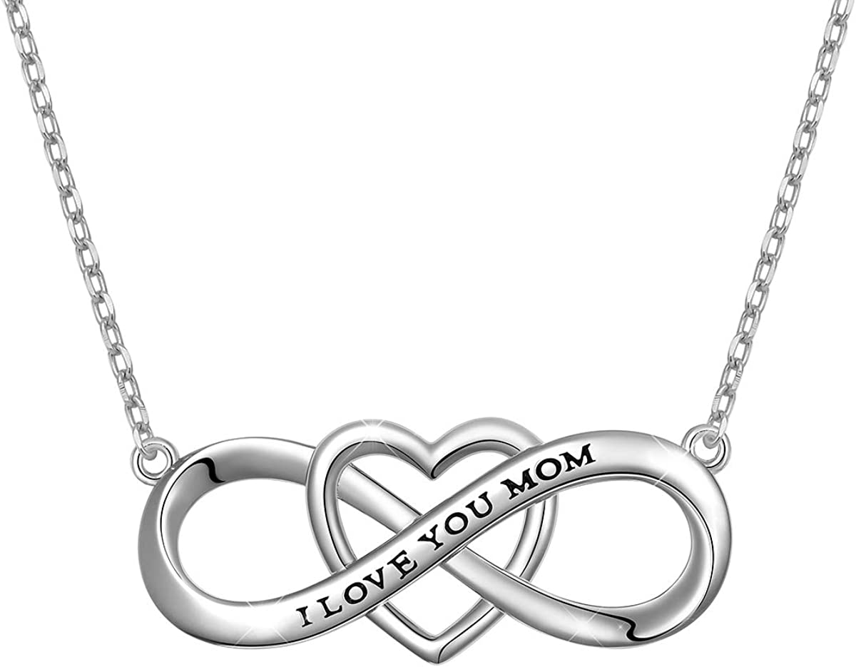 "Mother's Birthday Gifts S925 Sterling Silver""I Love You Mom"" Heart Bracelet/Necklace for Mother Mama Mommy Mum"