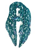 GERINLY Animal Print Scarves Owl Pattern Fashion Wrap Scarf (Teal)