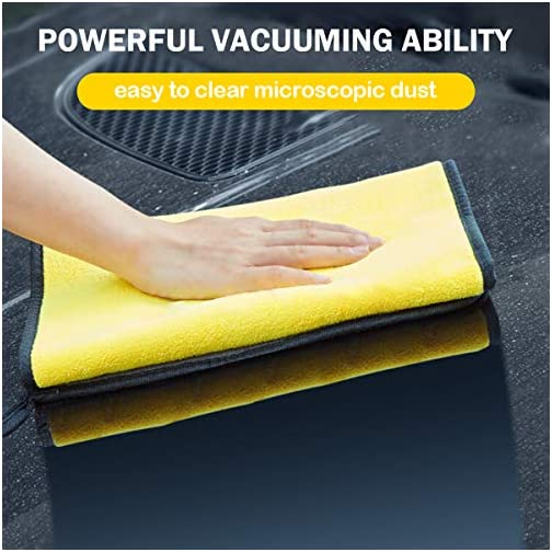 MATEPROX Premium Microfiber Cleaning Cloths,Thick Towels for Cars,Cleaning Rags for Home,Cloth with 5-Pack(Gray,Yellow) |