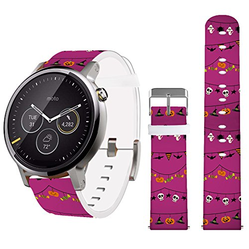 22mm Watchband,Jolook Leather Band for Samsung Gear S3 Classic/S3 Frontier/Gear 2 Neo and Other Band's Watch That Uses 22mm Spring Bars- Halloween Band]()