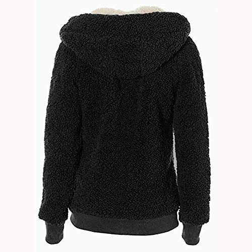 Soft Pockets Teddy Coat MERICAL Jumper Coats Ladies Womens Zipper Hoody Hoodies with Black Jacket qxSY0F