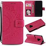 Galaxy S9 Plus (S9 +) Floral Protective Wallet Case,Galaxy S9 Plus (S9 +) Strap Flip Case,Leecase Pretty Elegant Embossed Totem Flower Design Pu Leather Bookstyle Magnetic Card Slots Wrist Strap Rose Gold Soft Inner Stand Flip Skin Case Cover Book Style With Lanyard Strap for Samsung Galaxy S9 Plus (S9 +) + 1 x Free Black Stylus-Red