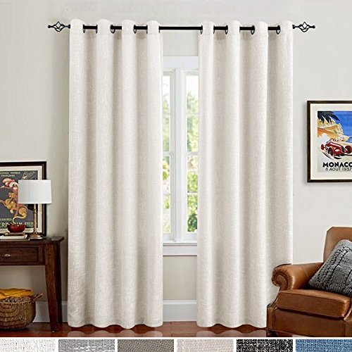 Off White Linen Cotton Curtains for Bedroom 84 Inches Length Window Treatments Drapes 2 Panels