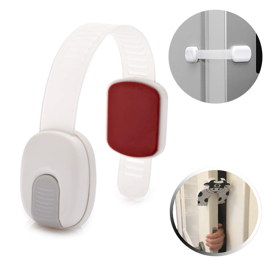 Refrigerator Child Safety Lock,6 Pack Adjustable Length,High Adhesive & 2 Pack Door Finger Clamp Protection(Grey)