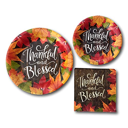 Thanksgiving Thankful And Blessed Fall Party Paper Plates