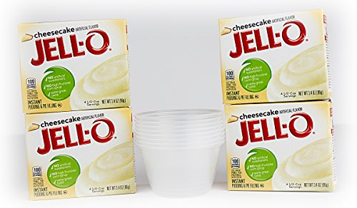 Bundle:Jello Pudding with FREE serving cups (Cheesecake, 4-Pack) ()
