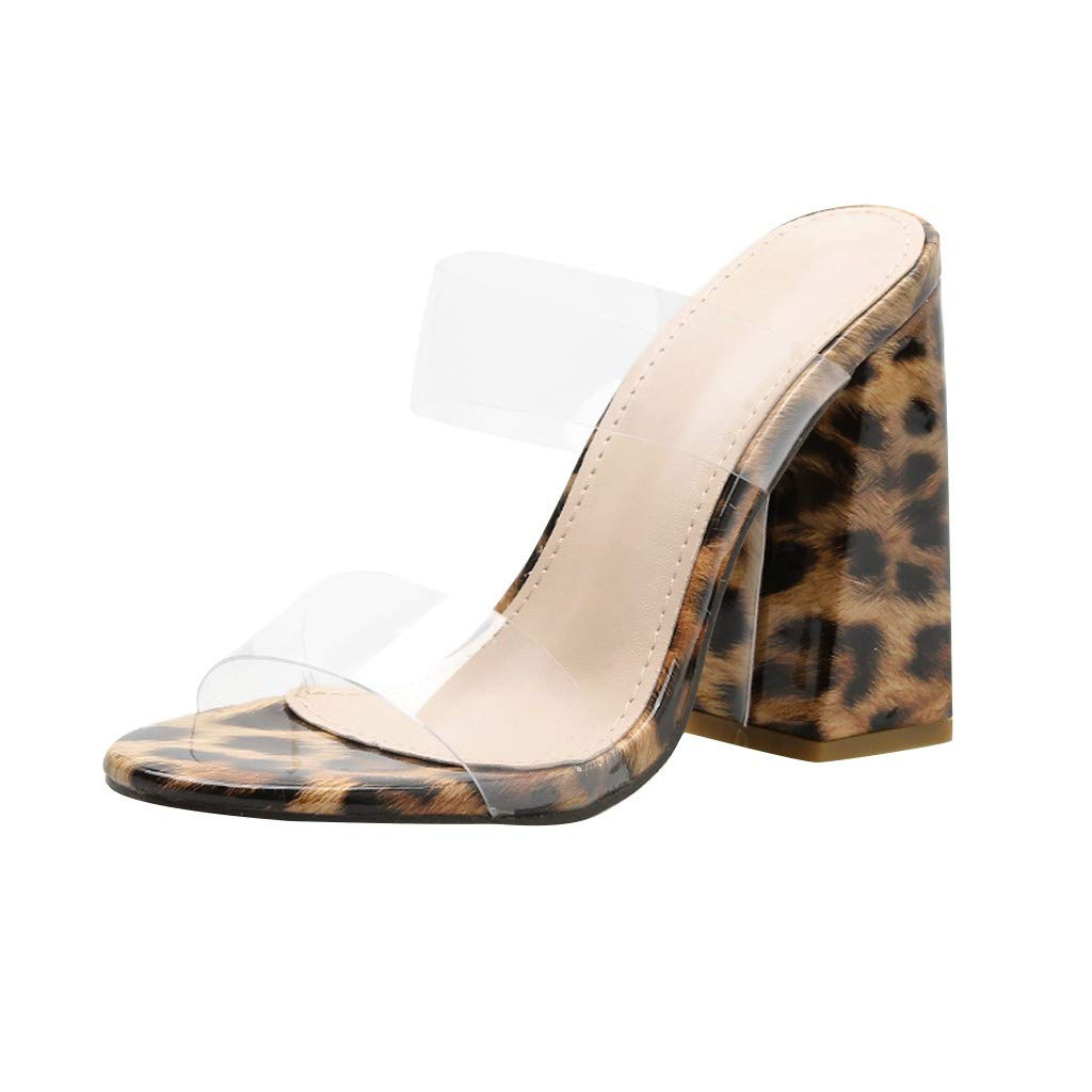 ZOMUSAR Shoes for Ladies, Leopard Print Sandals Women PVC Transparent Pointed Coarse Heeled S Slippers Brown