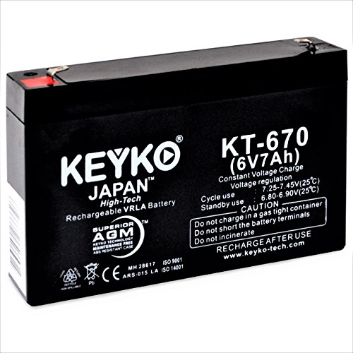 6V 7Ah / REAL 7.0 Amp SLA Battery for Kid Trax Avigo Quad KT1042TR / KT1051TR Replacement Battery Genuine KEYKO F1 - Glasses Lasses With