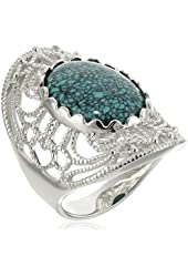 Sterling Silver Oval Genuine Stabilized Turquoise Filigree Design Ring, Size 7