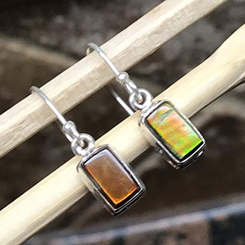 AAA Natural Canadian Ammolite 925 Solid Sterling Silver Healing Stone Earrings 20mm Long