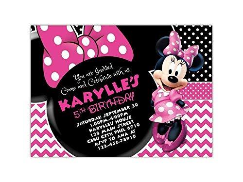 Custom Minnie Mouse Birthday Invitations (Custom Minnie Mouse Birthday Party Invitations with White)