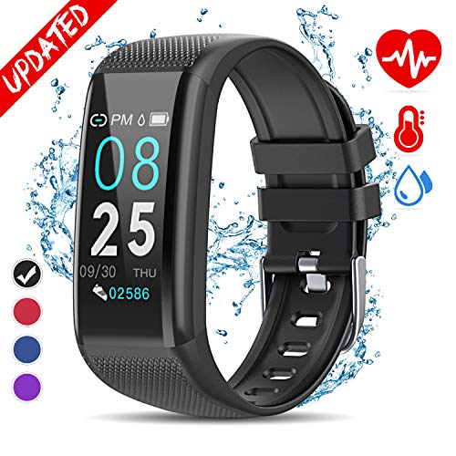 Golden hour Fitness Tracker HR, Activity Tracker with Heart Rate Monitor, IP67 Waterproof Smart Bracelet with Step, Calorie Counter, Sleep Monitor, Pedometer, Health Watch for Men Women Kids Black