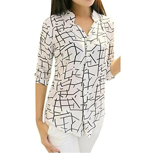 Price comparison product image T Shirt,  Han Shi Women's Sexy Elegant Print Blouse Ladis Girls Casual Straight Long Sleeve Slim Tee Cotton Tops Streetwear Camisole Outfit (S)