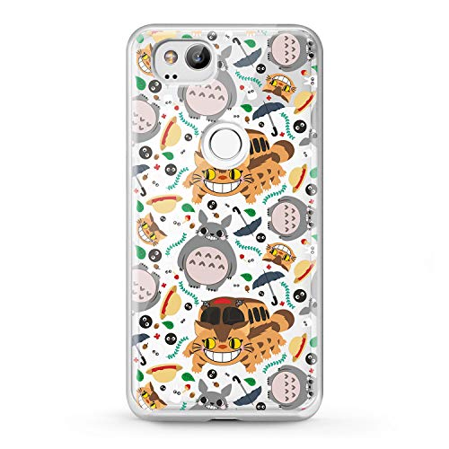 Lex Altern Case Cute Google Pixel 3 TPU XL 2 My Neighbor Totoro Clear Phone Catbus Transparent Soft Kids Japanese Silicone Girly Cartoon Design Print Flexible Women Funny Cover Protective Translucent ()