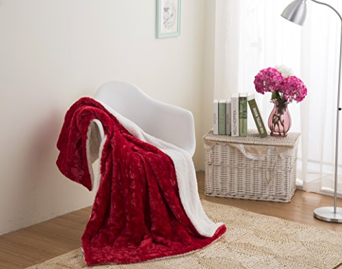 Geneva Large Sofa (DaDa Bedding Luxury Hearts in Love - Plush Faux Fur Sherpa Fleece Throw Blanket - Soft Embossed Solid Pomegranate Red - 90