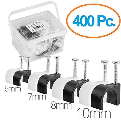 Maximm Cable Clips 400 pcs Black and White – 6mm, 7mm, 8mm, 10mm with Steel Nails - for All Cat5, Cat6, Cat7, RG6 Coaxial, HDMI & Speaker Cables