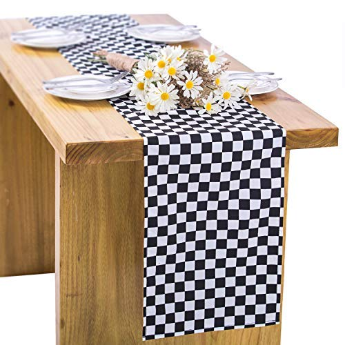 Black Checked Table Runner Black Racing Style Runner Western Restaurant Table Runner for Dinner Race Party Easter Day Wedding Party Fabric Table Top Decoration, 72