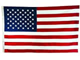 Cheap 3ft x 5ft American Flag, USA Flag, Embroidered Stars, 210D Nylon Material, Durable, Long-lasting, and Fade Resistant to UV Rays, Two Brass Grommets for Hanging, Sewn Stripes, Four Stitches on Fly Hem, Outdoor Flag, or Indoor Flag Banner, Exceptional Quality.