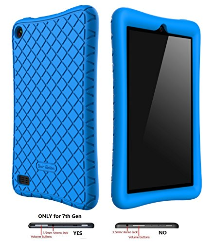 Bear-Motion-Silicone-Case-for-All-New-Fire-7-Tablet-with-Alexa---Anti-Slip-Shockproof-Light-Weight-Kids-Friendly-Protective-Case-for-Amazon-Kindle-Fire-7-ONLY-for-7th-Generation-2017-Model-Blue