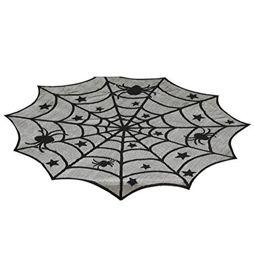 Spider Web Lace 40 Inch Round Halloween Table Topper (Table Runners Unusual)