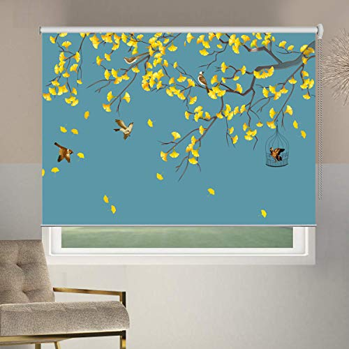 100% Blackout Window Shades, Birds Collection, Premium Thermal Insulated UV Protection Patterned Custom Window Blinds, 26