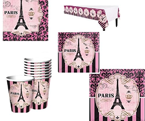 Eiffel Tower Paris Pink Party Black Pack for 8