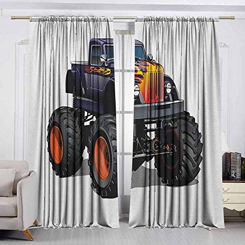 VIVIDX Rod Pocket Window Curtain,Truck,Flame Patterned for sale  Delivered anywhere in Canada