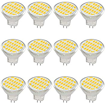 Jenyolon MR11 GU4 LED Bulb Light Lights Warm White DC/AC 12V, 3W, 30W Halogen Bulb Equivalent, 400 Lumens, 3000K, 120° Beam Angle, Kit, Landscape Bulb, ...
