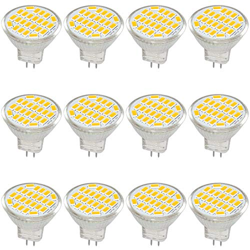 Jenyolon MR11 GU4 LED Bulb Light Lights Warm White DC/AC 12V, 3W, 30W Halogen Bulb Equivalent, 400 Lumens, 3000K, 120° Beam Angle, Kit, Landscape Bulb, LED Replacement,12 Pack ...