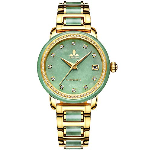 (CHIYODA Luxury Automatic Green Jade Watch for Women, Swiss Automatic Watch with Calendar and Diamonds Jade Dial Precious Timepiece for Collection)