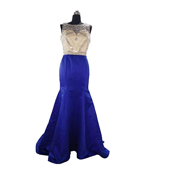 Vogue Tribe Sheer Illusion Prom Dresses Beaded 2016 Party Gowns Size 2 Blue