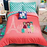 PARIS,LONDON,ROME,INDIA CHIC TEENS GIRLS REVERSIBLE COMFORTER SET,SHEET SET AND WINDOWS PANELS 12 PCS FULL/QUEEN SIZE