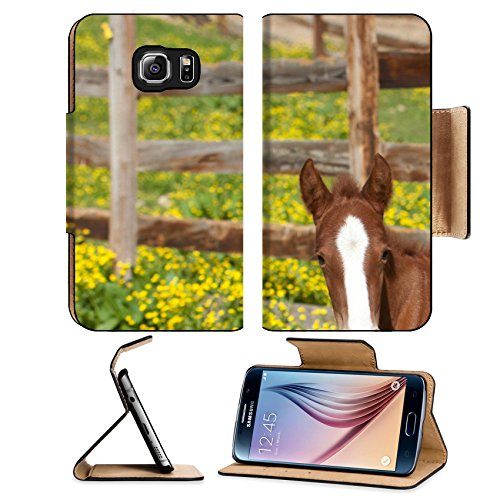 Luxlady Premium Samsung Galaxy S6 Edge Flip Pu Leather Wallet Case IMAGE 21178920 A red foal with a white blaze