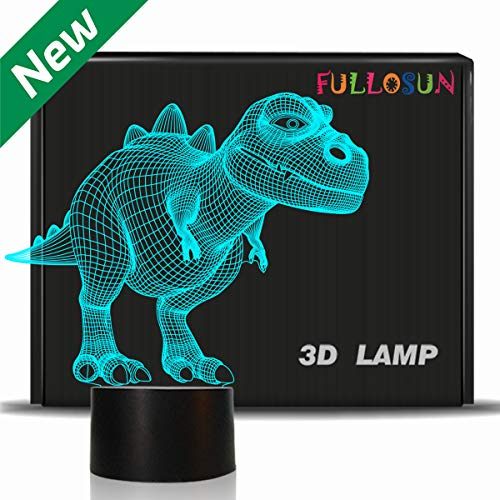 FULLOSUN Night Light for Kids Dinosaur T-rex 3D Night Light Bedside Lamp 7 Color Changing Xmas Halloween Birthday Gift Toys for Child Baby Boy