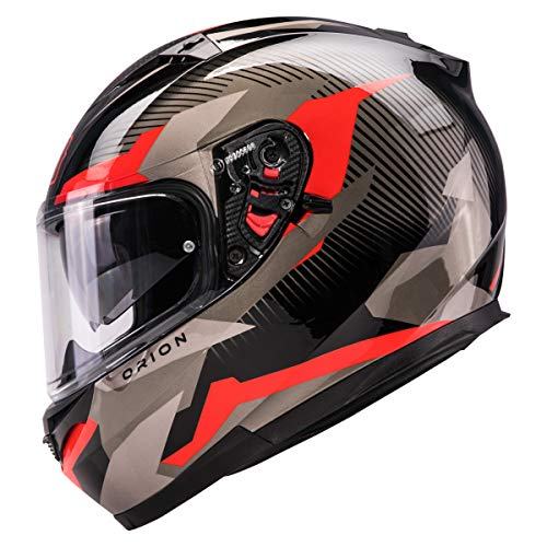 Orthrus Orion Series Full-Face Street Bike Cruiser Motorcycle Helmets With Drop-down Inner Sun Shield DOT (L, Gloss Red)
