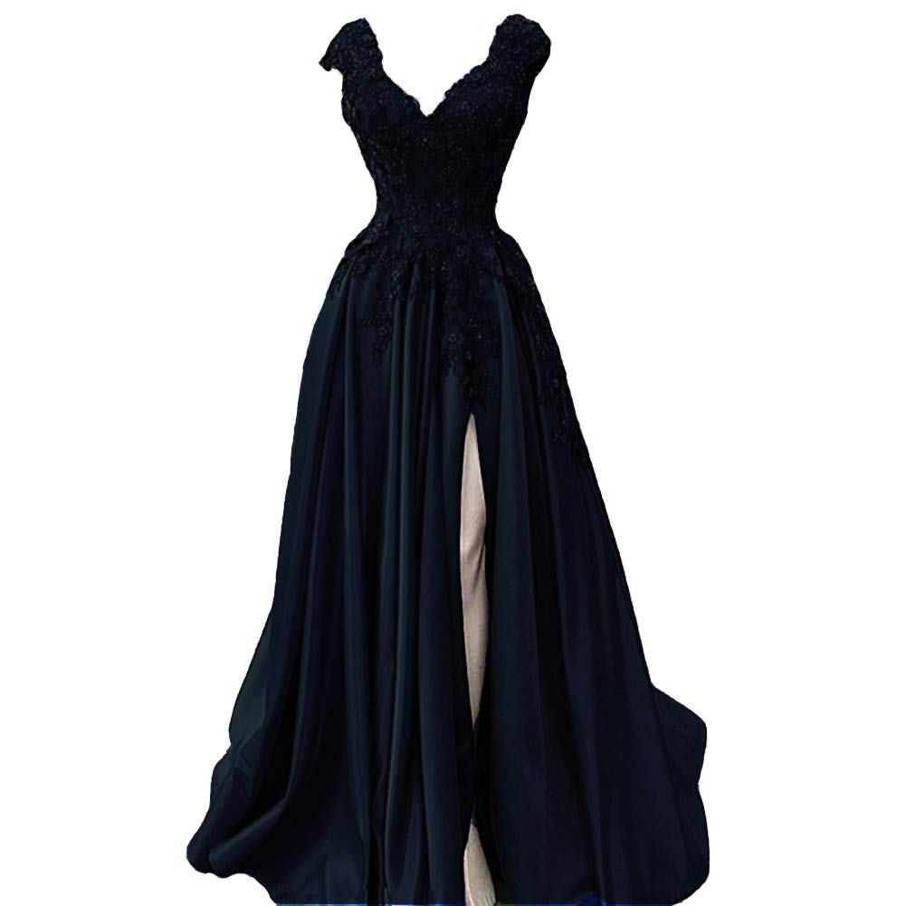 Dark Navy Lemai V Neck Beaded Lace Appliques Front Slit Long Formal Prom Evening Dresses