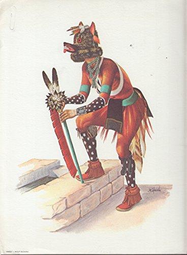 Motorola Kweo the Wolf Kachina Hopi Indian color print by Hoyesva 1964 Wolf Kachina