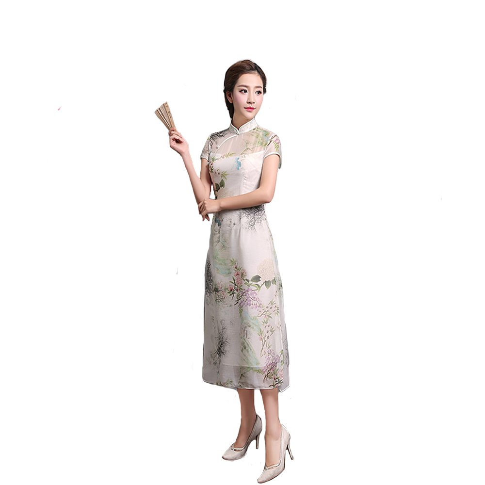 Qipao New Chinese Qipao Retro Cheongsam Improved Cheongsam Medium length cheongsam Short sleeves Summer