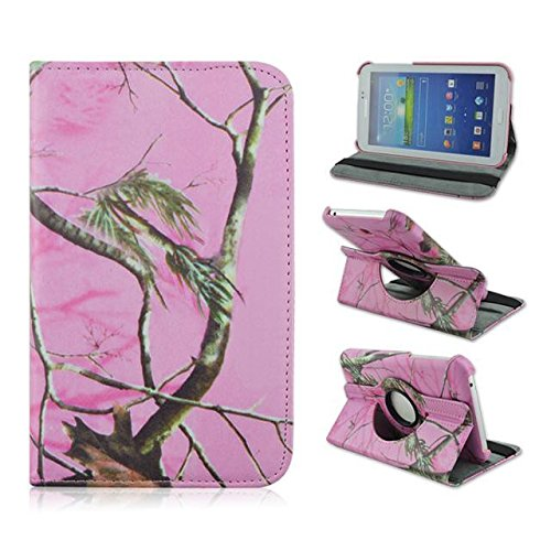 Tsmine Samsung Galaxy Tab 3 7.0 Camo Case - Premium 360 Rotating PU Leather Case Camouflage Branch Straw Mossy Leaves For Samsung Galaxy Tab 3 7