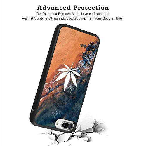 Frosted Phone Case Fit for iPhone 7 Plus, iPhone 8 Plus Hemp Leaf Black Rub Shockproof TPU Protective Cover