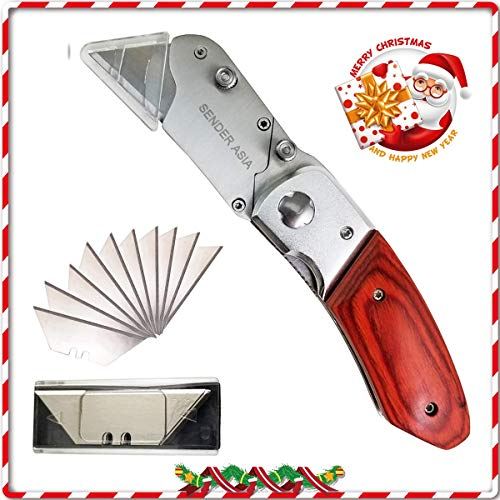 Folding Box Cutter Christmas Gift | 4inLoveMe | Utility Knife With Cap | 10 Extra Sharp Replaceable Blades | Carbon Steel Knife For Cutting Box, Carpet, Rope, Cardboard, and Vinyl