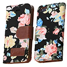 OOOUSE Flower and Deluxe Book Style Folio PU Leather Wallet with Magnet Design Flip Case Cover, Credit Card Holder for iPhone 5 5S (Black)