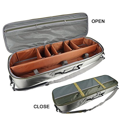 Case Fly Fishing (Aventik Multi-function Fishing Rod & Gear Case All In One Easy Carry, Super Light Weight, Airplane Allowed, Compartment Adjustable)